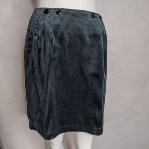 Corduroy Skirt Pencil Gray Steel Blue  Rare